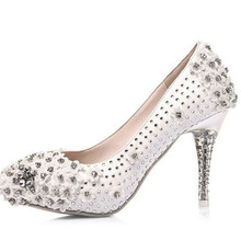 Comfortable White Wedding Shoes Rhinestone Nightclub Shoes Bridal Dress Shoes Sparkling High Heel Prom Evening Party Pumps