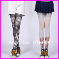 2016 New Arrival Girl Harajuku Tights Fashion Womens 60 Denier Velvet Tattoo Print Stockings Pantyhose