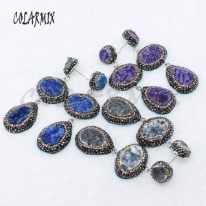 Image 3 - Pendientes de piedra drusa dobles, 5 pares, mezcla de colores, joyería con drusa, regalo, joyería 4887