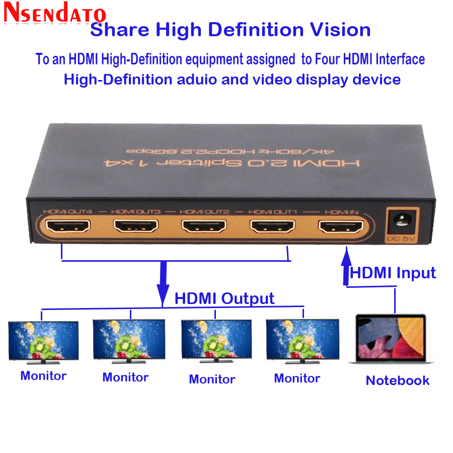 1 In 4 Out HDMI 2.0 Adapter Splitter 1X4 4 k x 2 k 60 hz HDMI2.0 Switcher convertitore Per DTS Dobly HDCP 2.2 4 k HDTV Monitor DVD