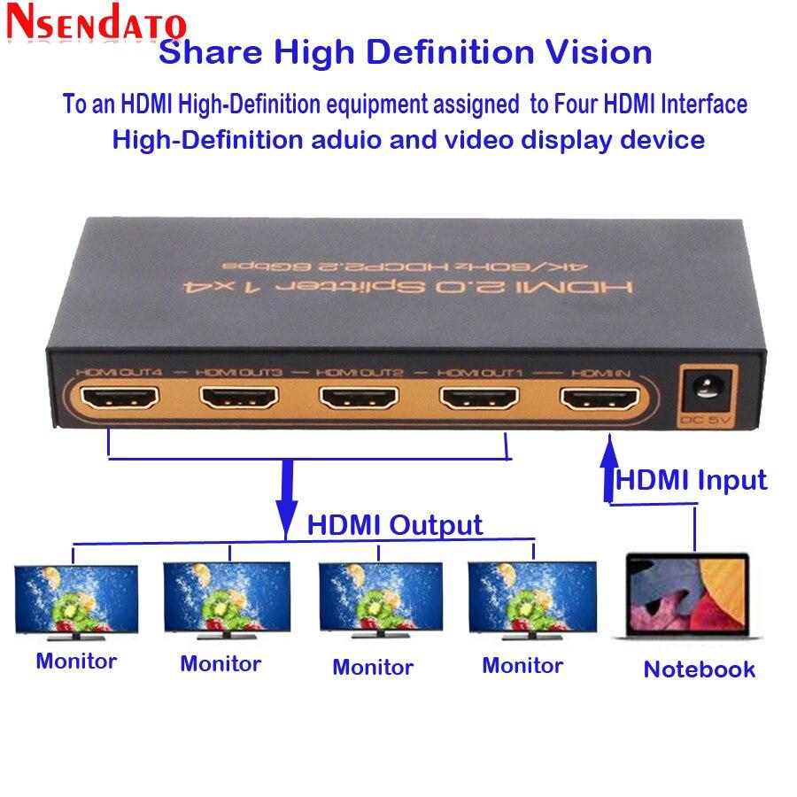1 dans 4 Out HDMI 2.0 Adaptateur Splitter 1X4 4 k x 2 k 60 hz HDMI2.0 Switcher convertisseur Pour DTS Dobly HDCP 2.2 4 k HDTV Moniteur DVD