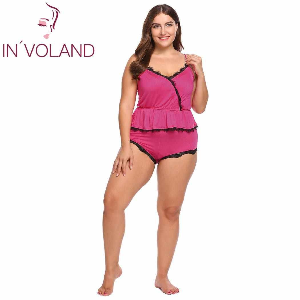 9d7bcba371 IN VOLAND Plus Size Women Sleepwear Pajama Set L-4XL Lounge Lace Trim  Ruffles