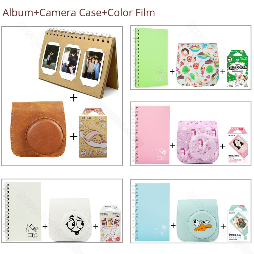 Similar Color Mini Film Album Camera Case 3 in 1 For Fujifilm Instax Mini 9 8 Film Pink Blue LifeColor Gudetama Album Protector