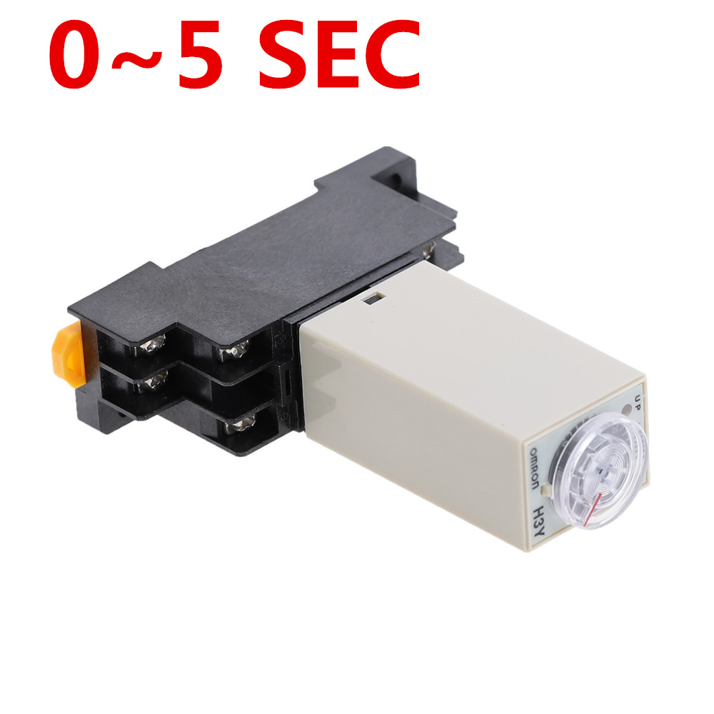 1pcs H3Y-2 <font><b>DC</b></font> 12V 24V /<font><b>AC</b></font> 110V 220V Delay Timer Time Relay 0 - <font><b>5</b></font> SEC with Base <font><b>5A</b></font> image