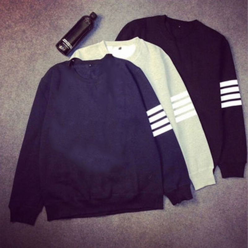 Pullover Sweatshirt Hoodie Neck-Tops Long-Sleeve Autumn Striped Fashion Winter Casual