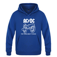 ACDC Logo Hoodies Cotton Winter Teenages Alternating Current Direct Current Band ACDC Sweatershirt Pullover With Hood