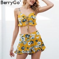 BerryGo Strap Flower Print Sexy Two Piece Romper Women Ruffle Lace Up Boho Short Playsuit 2018