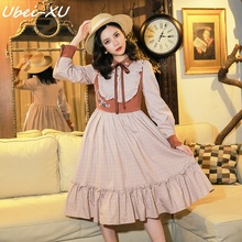 Ubei New Spring/Autumn women court retro dress long sleeve loose literary temperament flounces
