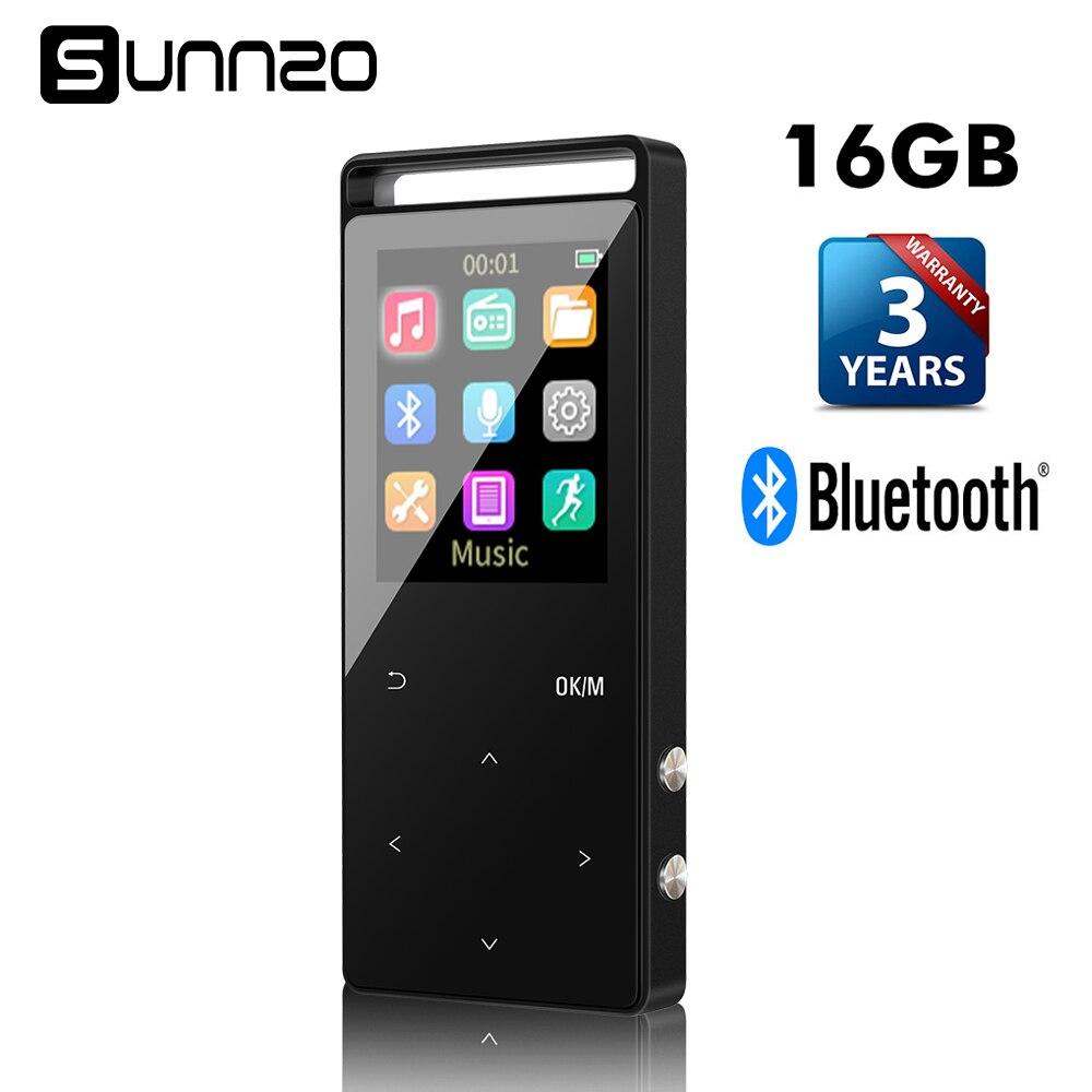 Bouton tactile 16GB Bluetooth HiFi lecteur de musique MP3 numérique sans perte mini lecteur Audio Portable avec Radio FM et podomètre