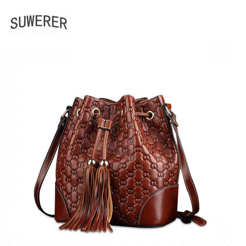 2018 Polyester Hot Sale String Soft Suwerer New Superior Genuine Leather Tassel Bucket Bag Luxury Handbags Women Bags Designer