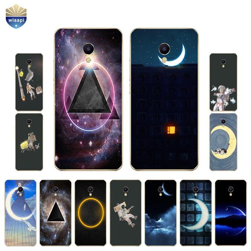 Для Meizu M2 M3 m3s mini телефона чехол для meilan M5/m5s мини В виде ракушки U10 U20 Обложка мягкая TPU coque Moon Треугольники Дизайн роспись