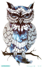 MC691 19X12cm Big Temporary Tattoos HD Large Body Art Glass Cool OWL Fashion Flash Taty Tattoo Stickers s