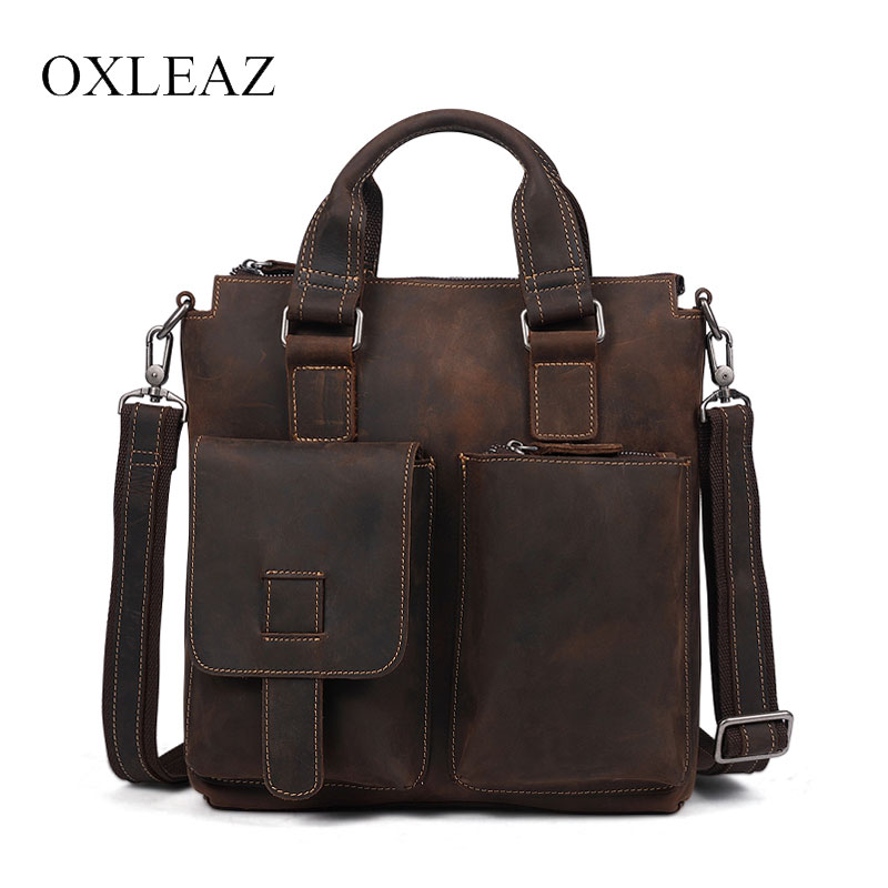 OXLEAZ Top Male Genuine Crazy Horse Leather Handbags Retro Hand Bags Cowhide Mens Leather Shoulder Bag Crossbody Bags for MenOXLEAZ Top Male Genuine Crazy Horse Leather Handbags Retro Hand Bags Cowhide Mens Leather Shoulder Bag Crossbody Bags for Men