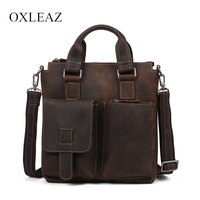 OXLEAZ Top Male Genuine Crazy Horse Leather Handbags Retro Hand Bags Cowhide Mens Leather Shoulder Bag Crossbody Bags for Men