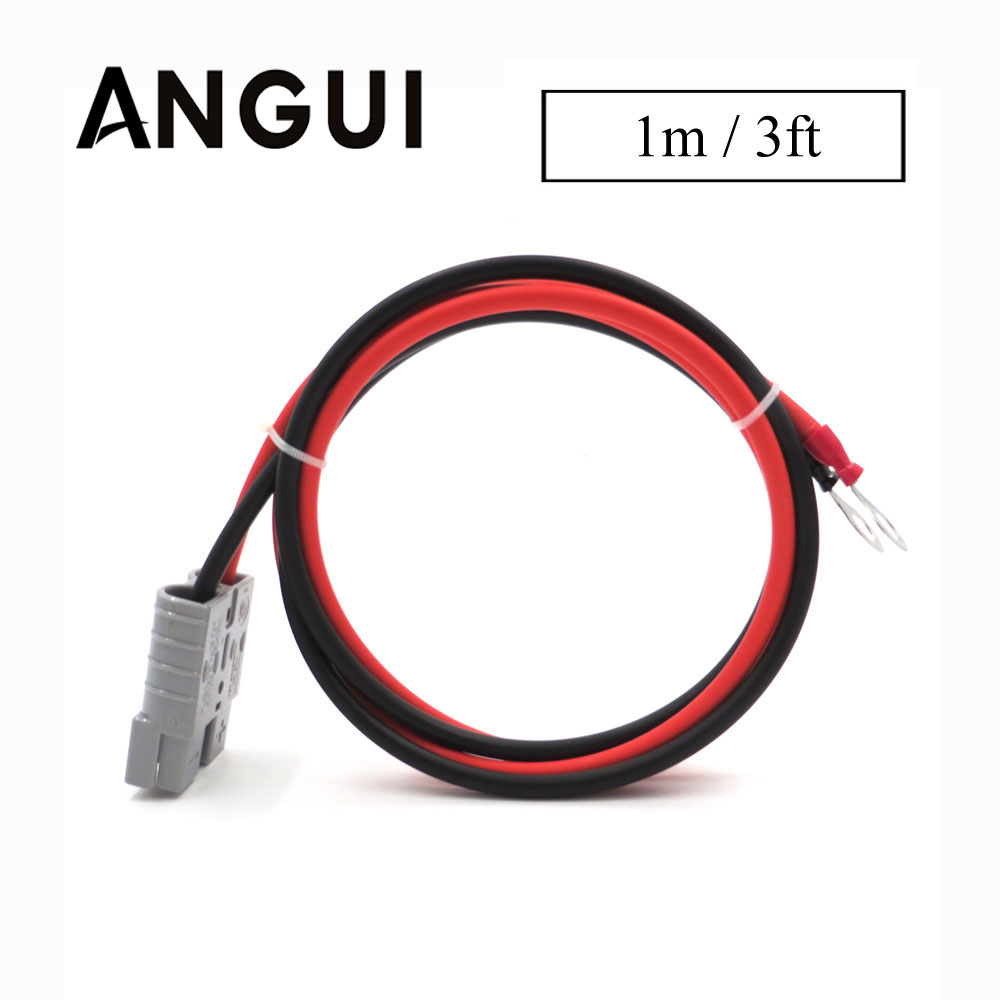 3FT SH50 Plug 50A 600V 1meter Extend Cable Solar Cable Connect 2.5mm2 With M8 Terminal Ring Battery Lug Bolt Tab