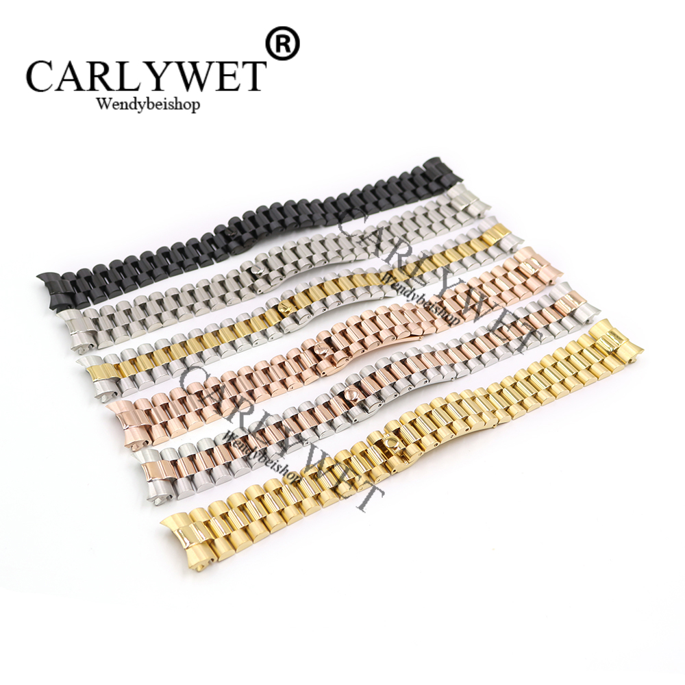 CARLYWET 20mm Silver Black Middle Gold Solid Curved End Screw Links Stainless Steel Replacement Wrist Watch Band Bracelet Strap stainless steel watch band 18mm 20mm 22mm for rolex curved end strap butterfly buckle belt wrist bracelet black gold silver