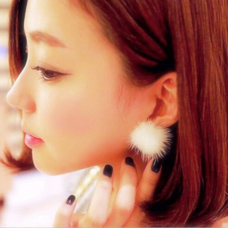 Stud Earrings  Stud Earrings: 2016 Fashion Womens Fur Pearl Double Side Percing Ear Stud 11 Colors Statement Bride's Gift Accessory