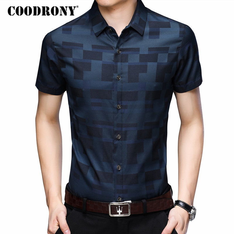 COODRONY Short Sleeve Shirt Men Clothes 2019 Summer Mens Shirts Casual Slim Fit Plaid Camisa Masculina Cotton Chemise Homme 8701