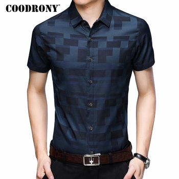 COODRONY Short Sleeve Shirt Men Clothes 2019 Summer Mens Shirts Casual Slim Fit Plaid Camisa Masculina Cotton Chemise Homme 8701 Casual Shirts