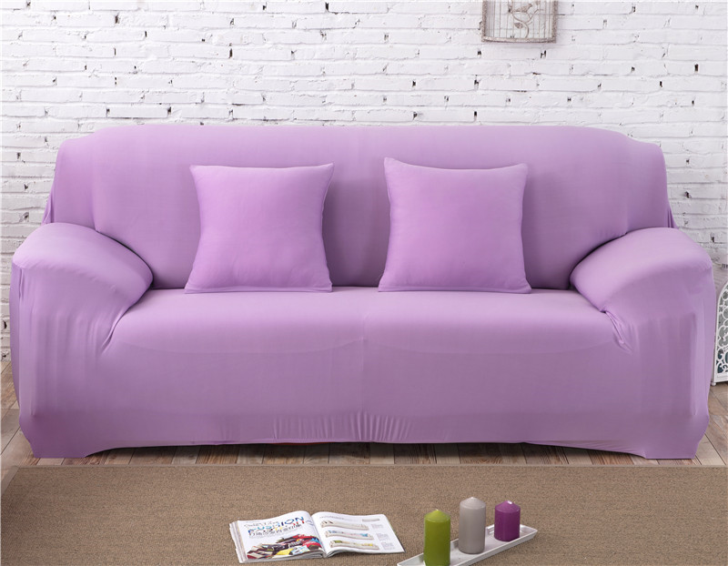 Solid Color Elastic Couch Cover made of Stretchable Material for Singe to 4 Seated Sofa in Living Room 29