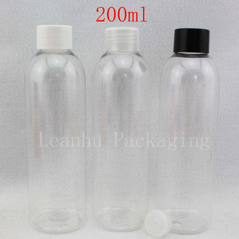 69aee4725f15 US $38.0 |200ml X 30 transparent empty lotion PET plastic round bottles  with screw lid , shampoo PET cosmetic container , clear bottles-in  Refillable ...