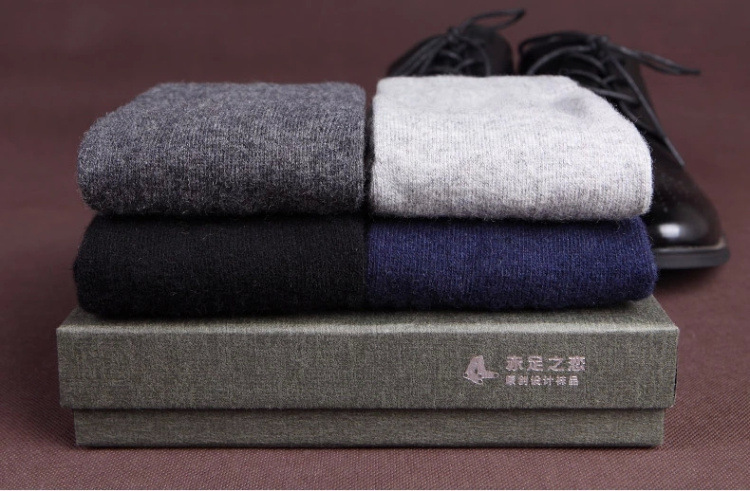 Export 2016 winter warm men wool socks business man box-packed thicken socks sirs gift two pairs per box 075