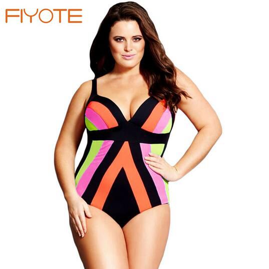 fiyote maillot de bain femme plus size strapped color splice one piece swimwear wholesale monokinis big - Maillot De Bain Color