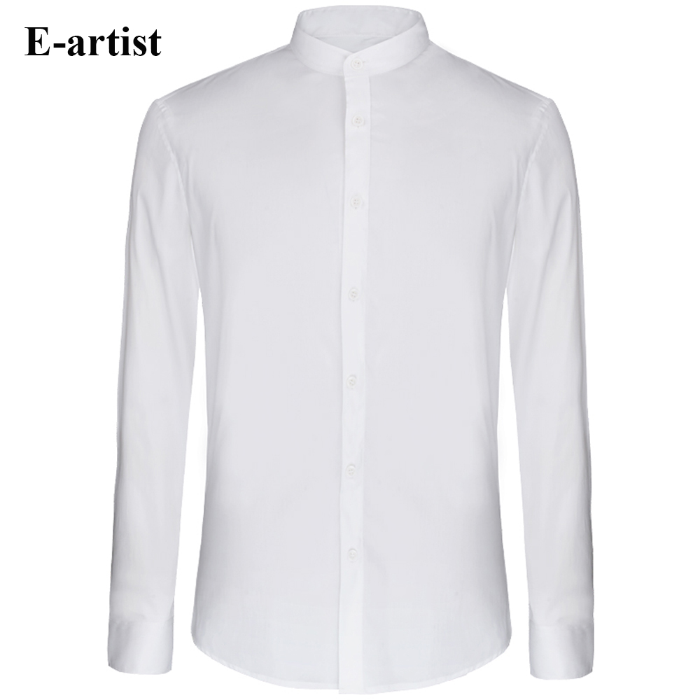 E artist Men s Slim Fit Business Casual Long Sleeve Cotton Dress Shirts Male Stand Collar