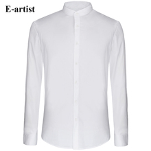 E-artist Men's Slim Fit Business Casual Long Sleeve Cotton Dress Shirts Male Stand Collar Formal Tops Plus Size 5XL C72