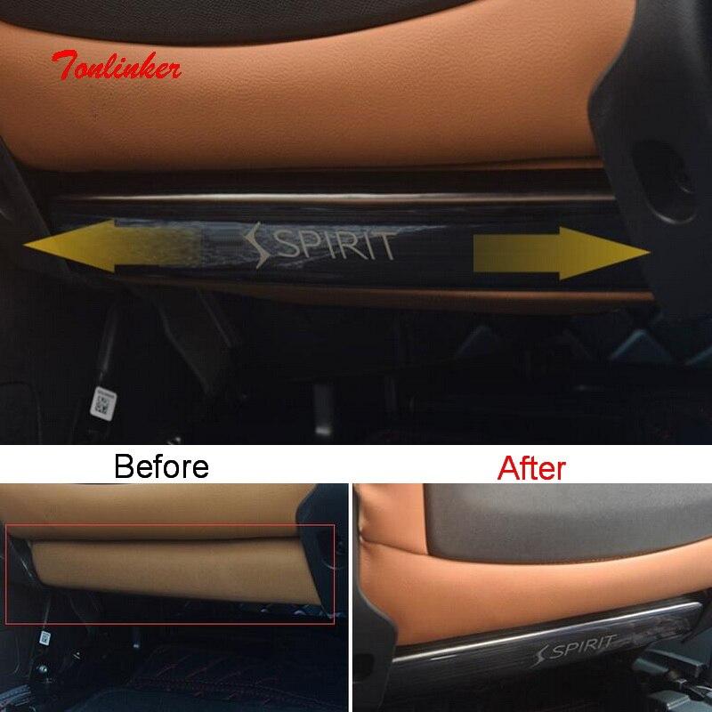 Tonlinker Assento voltar Anti-sujo do caso Da Tampa etiqueta para CITROEN DEESSE 2 DS7 2018 Car Styling PEÇAS de aço Inoxidável cobertura Adesivos