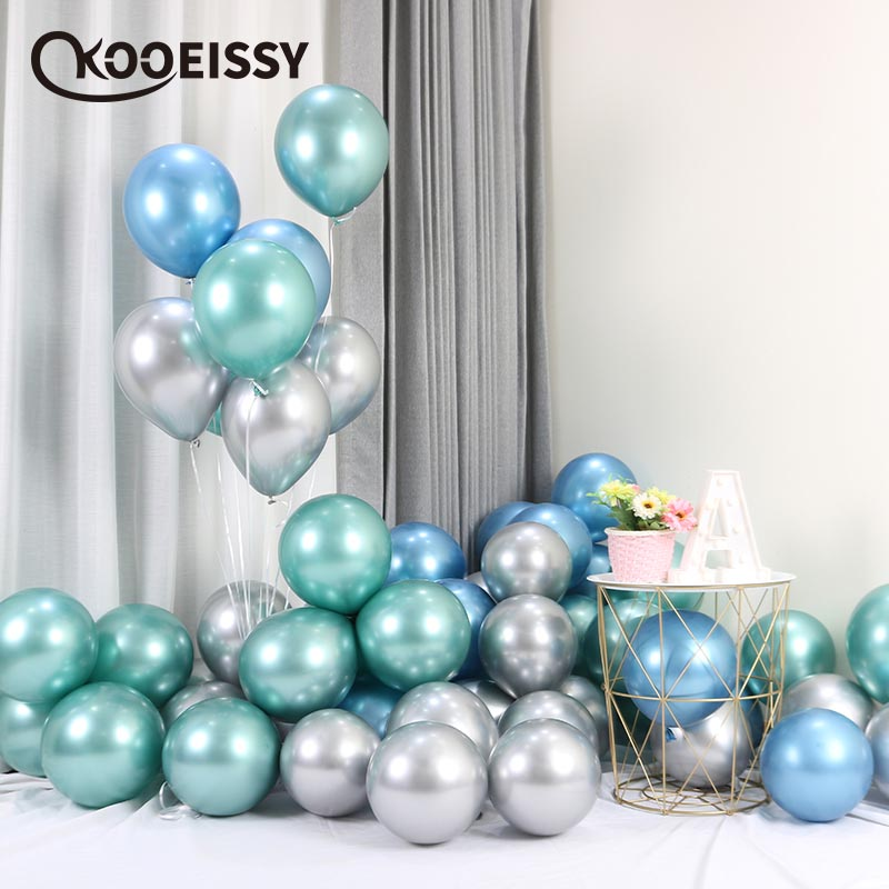 10pcs 12inch New Glossy Metal Pearl Latex Balloons Thick Chrome Metallic Colors Inflatable Air Balls Globos Birthday Party Decor