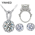 YINHED 925 Sterling Silver Bridal Jewelry Sets 4CT Big CZ Diamond Stud Earrings Necklace Ring Sets Women Wedding Jewelry ZS045