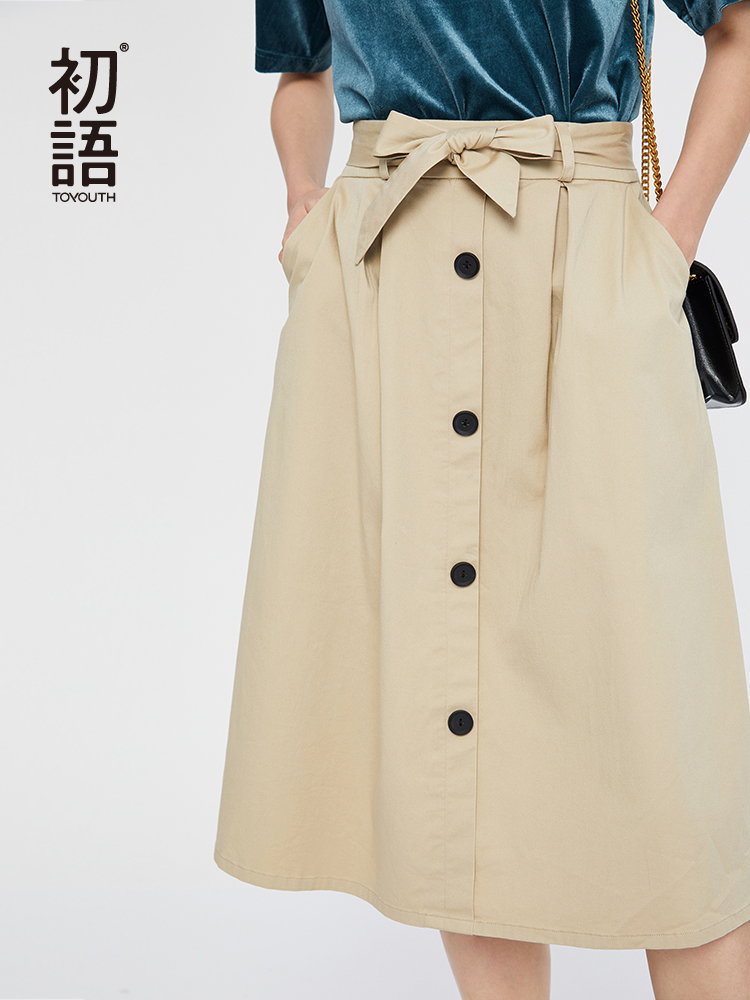 Toyouth 2019 High Waist Midi Skirts Solid Pockets Button A-Line Casual Ladies Bottoms Trendy Female Skirts With Sashes
