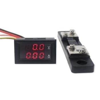 Mini 2in1 DC 0-100V/50A Voltmeter Ammeter Red LED Voltage Detector Current Monitor Meter Ampermeter With 50A Shunt Resistor