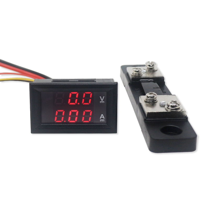 Mini 2 in 1 <font><b>DC</b></font> 0-<font><b>100V</b></font>/<font><b>50A</b></font> <font><b>Voltmeter</b></font> <font><b>Ammeter</b></font> LED Voltage Detector Current Monitor Meter Ampermeter With <font><b>50A</b></font> Shunt Resistor image