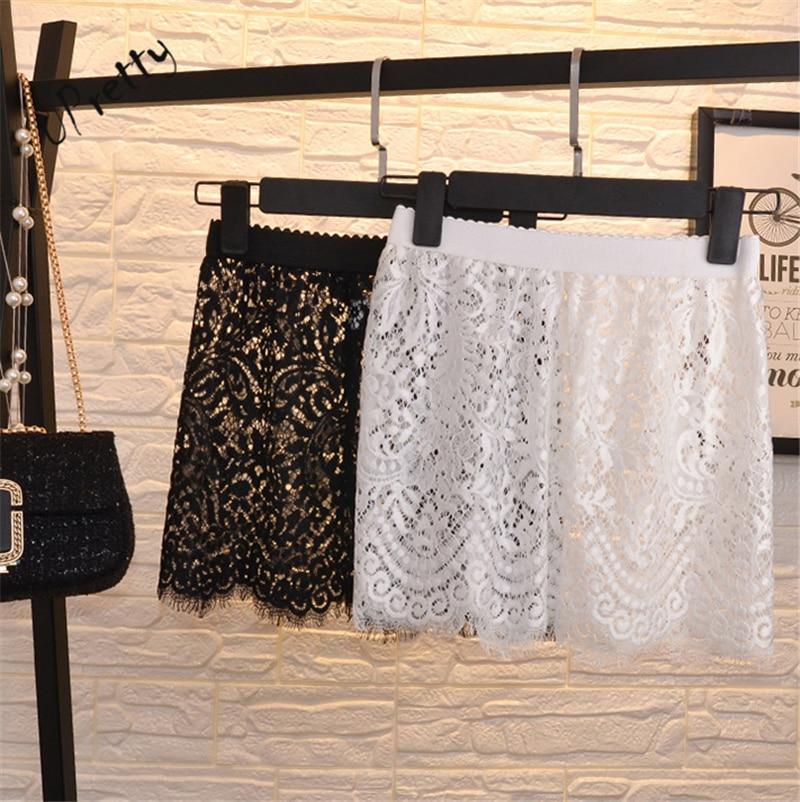 Printemps Été Femmes Dentelle Jupe Vintage Sexy Club de Haute Taille Tout-Allumette Voient À Travers Short mini blanc noir Crayon Jupe 107