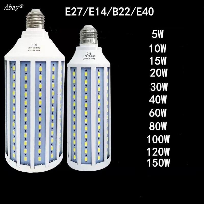 E27 B22 E40 E14 lampe à LED AC 220V ampoule LED 5W ~ 150W 5730 2835SMD lampe économiseuse d'énergie d'ampoule de maïs pour la lumière de décoration à la maison