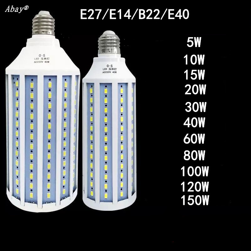 E27 B22 E40 <font><b>E14</b></font> <font><b>LED</b></font> <font><b>Lamp</b></font> AC 220V Light Bulb <font><b>LED</b></font> 5W~150W 5730 2835SMD Corn Bulb Energy Saving <font><b>Lamp</b></font> For Home Decoration Light image