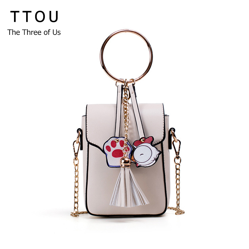TTOU Women Cute Pendant Messenger Bags Fashion Tassel Shoulder Bag Designer Circle handbag Mini Pu Leather Crossbody Bag