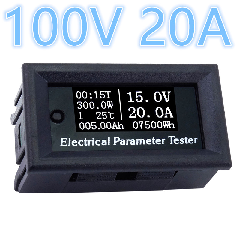 DC 100V 20A Digital Voltmeter Ammeter volotage Current Power Energy Watt Volt Amps Time temperature Meter ac220v 20a digital voltage meter energy meter lcd 5kw power voltmeter ammeter current amps watt meter tester detector indicator