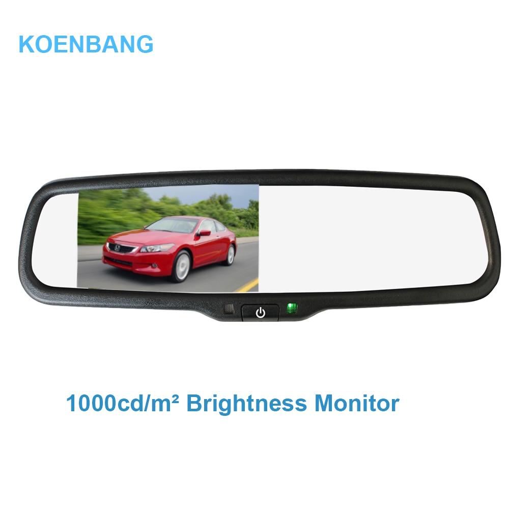 KOENBANG Monitor per specchietto retrovisore da 4,3 pollici 1000cd / m2 Staffa speciale per luminosità 2 ingressi Ingresso video per telecamera posteriore
