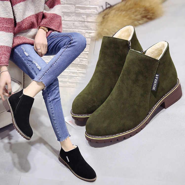 2019 Moda Kadın Martin Çizmeler Sonbahar Kış Çizmeler Klasik Fermuar Kar yarım çizmeler Kış Süet Sıcak Kürk Peluş Kadın Ayakkabı