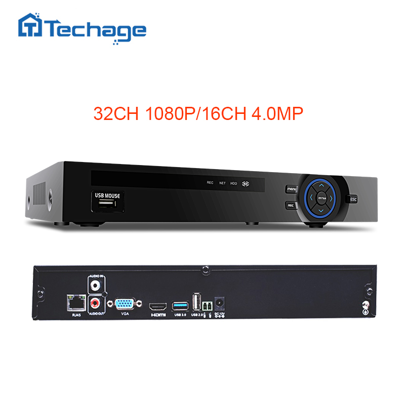 Techage 8CH 5MP 16CH 4MP 32CH 1080P 2MP CCTV NVR Motion Detect ONVIF Security Network Video Recorder For IP Camera System Kit