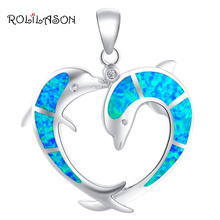 Pendientes Two Dolphins Designer Blue Fire Opal 925 sterling Silver Necklace Pendants Fashion jewelry for women OP508