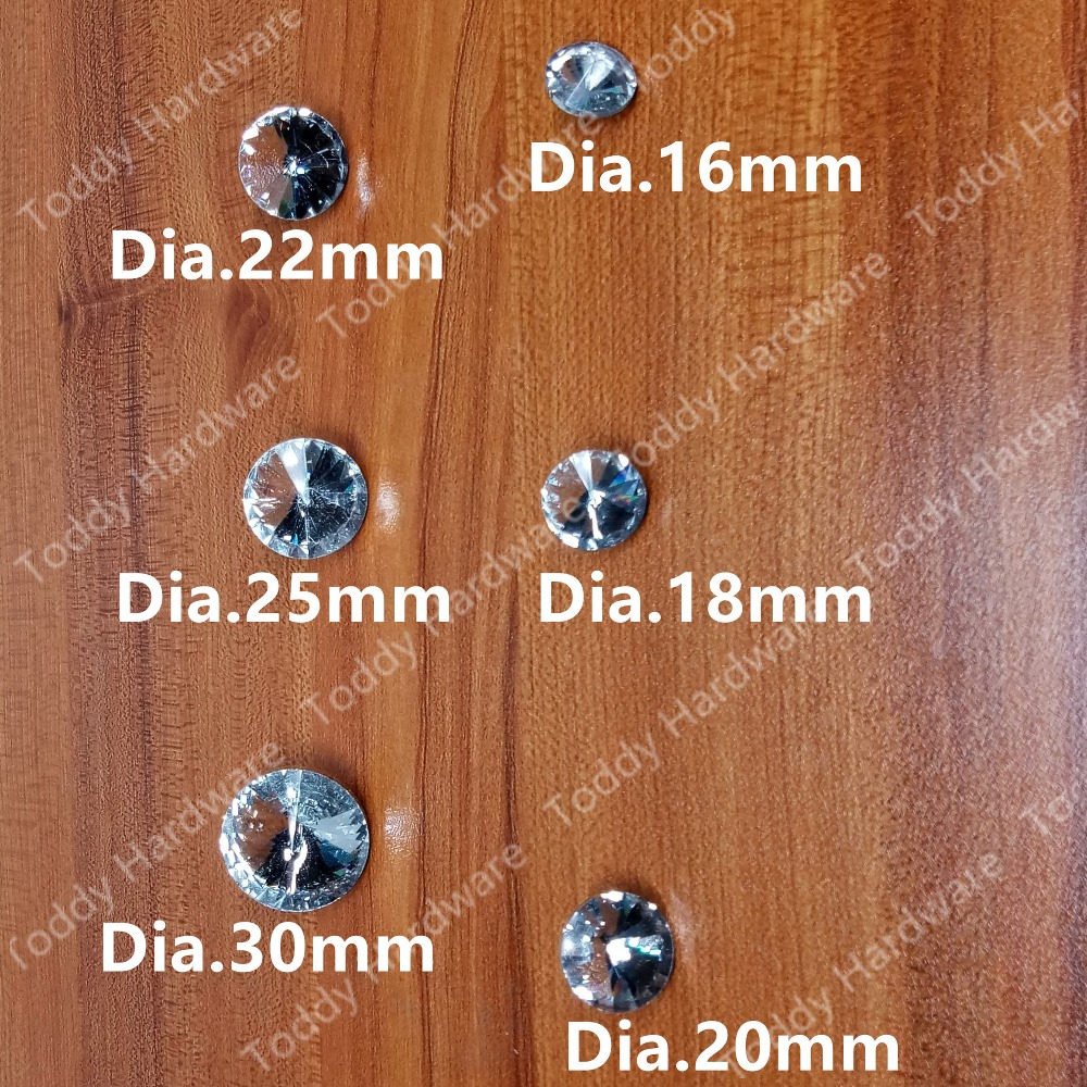 5pcs/lot Dia. 16mm/18mm/20mm/22mm/25mm/30mm Crystal decorative furniture hardware Accessories decoration sofa nail sofa button