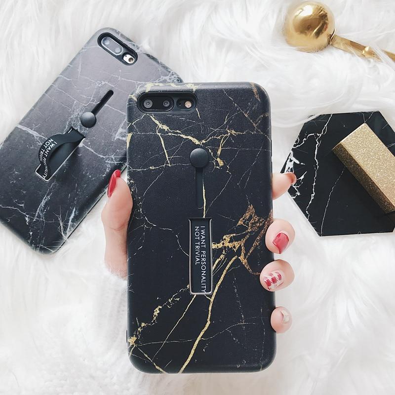 Роскошные золотые текстура Мрамор Телефон чехол для iphone 7 6 S 6 8 Пульс стрейч кольцо Стенд Чехлы для iphone X ТПУ Силиконовая задняя крышка