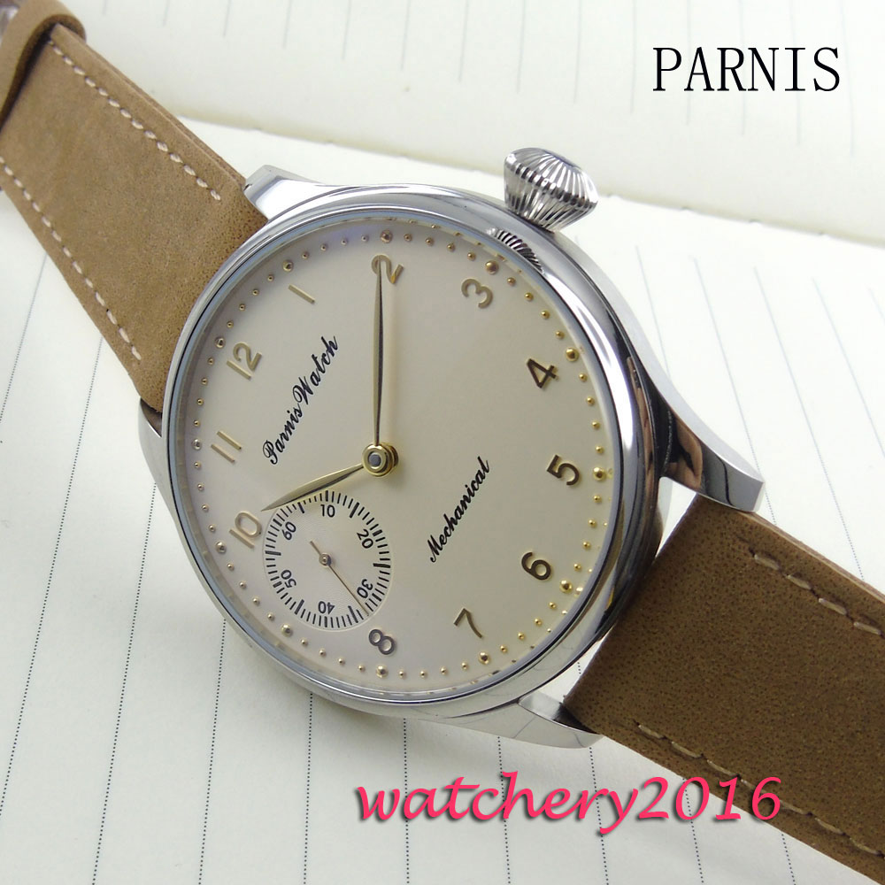 new 44mm parnis yellow dial stainless steel case 6497 Hand Winding movement Mens WristWatchnew 44mm parnis yellow dial stainless steel case 6497 Hand Winding movement Mens WristWatch