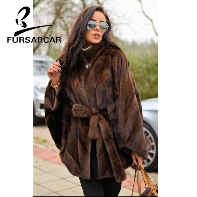 Image 3 - FURSARCAR Women Natural Real Mink Fur Coat With Stand Collar Bat Sleeved Thick Warm Genuine Fur Coat Luxury Female Garment 2019-in Real Fur from Women's Clothing