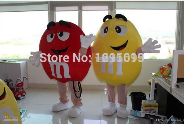 2015 New free shipping Cartoon Clothing,M&M Chocolate Candy red and Yellow Mascot Costume