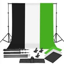ZUOCHEN Foto Studio Schwarz Weiß Grün Hintergrund Chroma Key Bildschirm Hintergrund Stand Kit